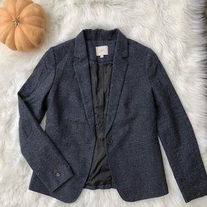 Navy marled wool-blend blazer